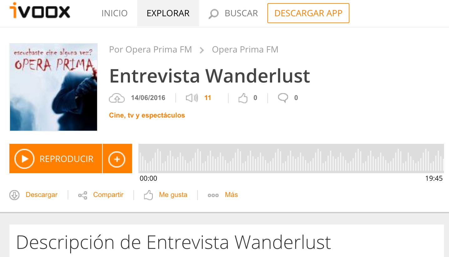 Wanderlust en Opera Prima FM, Radio Universidad La Plata
