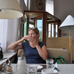 Anne drinking coffee in Vienna